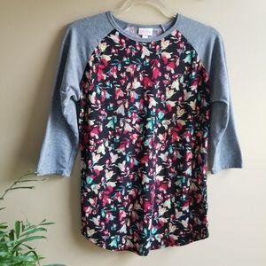 LULAROE Randy Raglan Floral Print Tshirt, Small